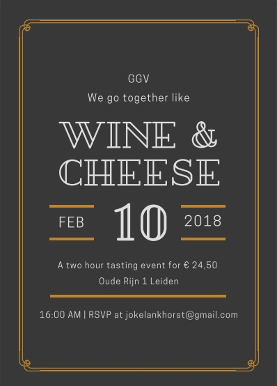 Wine and cheese tasting Februari 10th